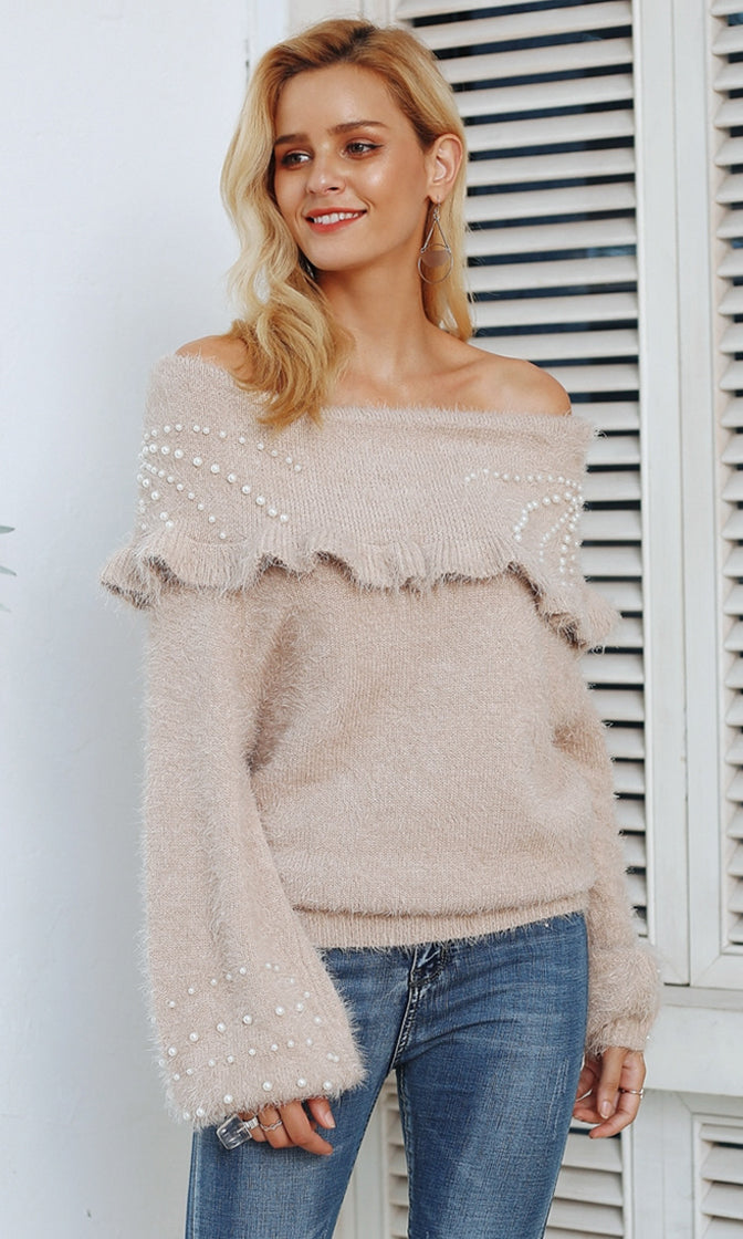 Cozy Up Long Lantern Sleeve Fold Over Off The Shoulder Pattern Pearl Trim Pullover Sweater - 2 Colors Available - Sold Out