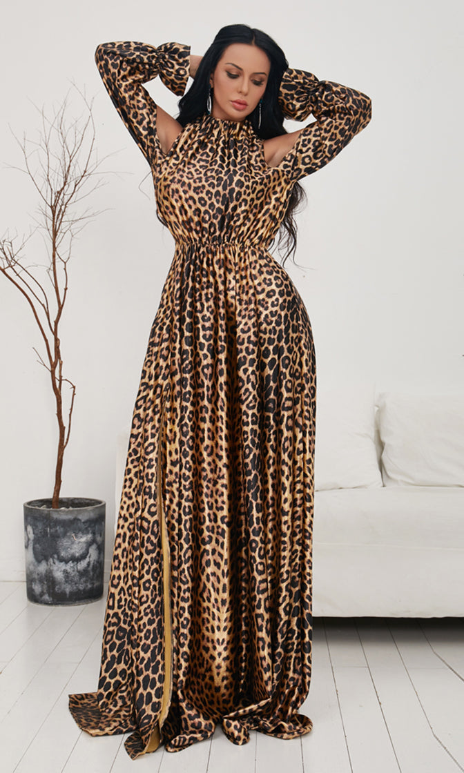 Photo Shoot Leopard Pattern Long Sleeve Cut Out Cold Shoulder Mock Neck Side Slit Casual Maxi Dress