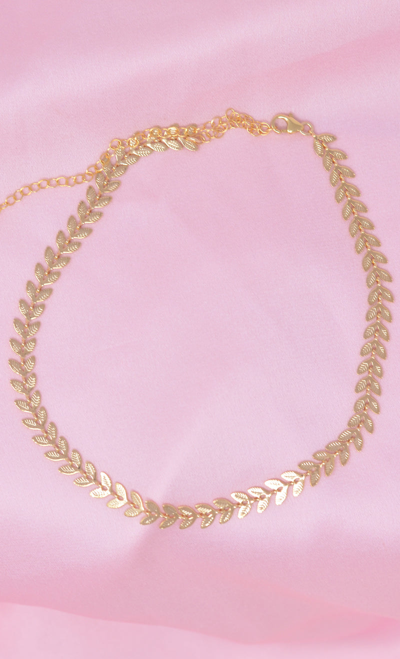 Glam Goddess 14K Karet Gold Filled Choker Necklace Grecian Laurel Leaf Chain