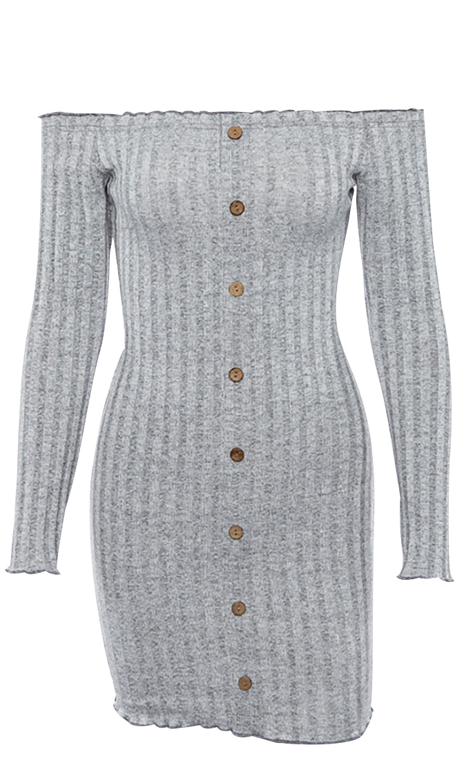 Buttoned Up Long Sleeve Ribbed Off The Shoulder Button Front Bodycon Casual Mini Dress - 2 Colors Available