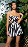 Can't Help Myself Black White Stripe Pattern Strapless Bandeau Bow Crop Top Loose Shorts Two Piece Romper Playsuit