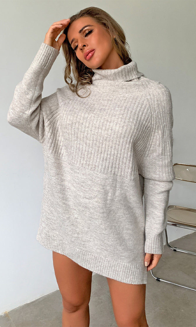 Roaring Fire Khaki Long Sleeve Turtleneck Ribbed Pullover Tunic Sweater