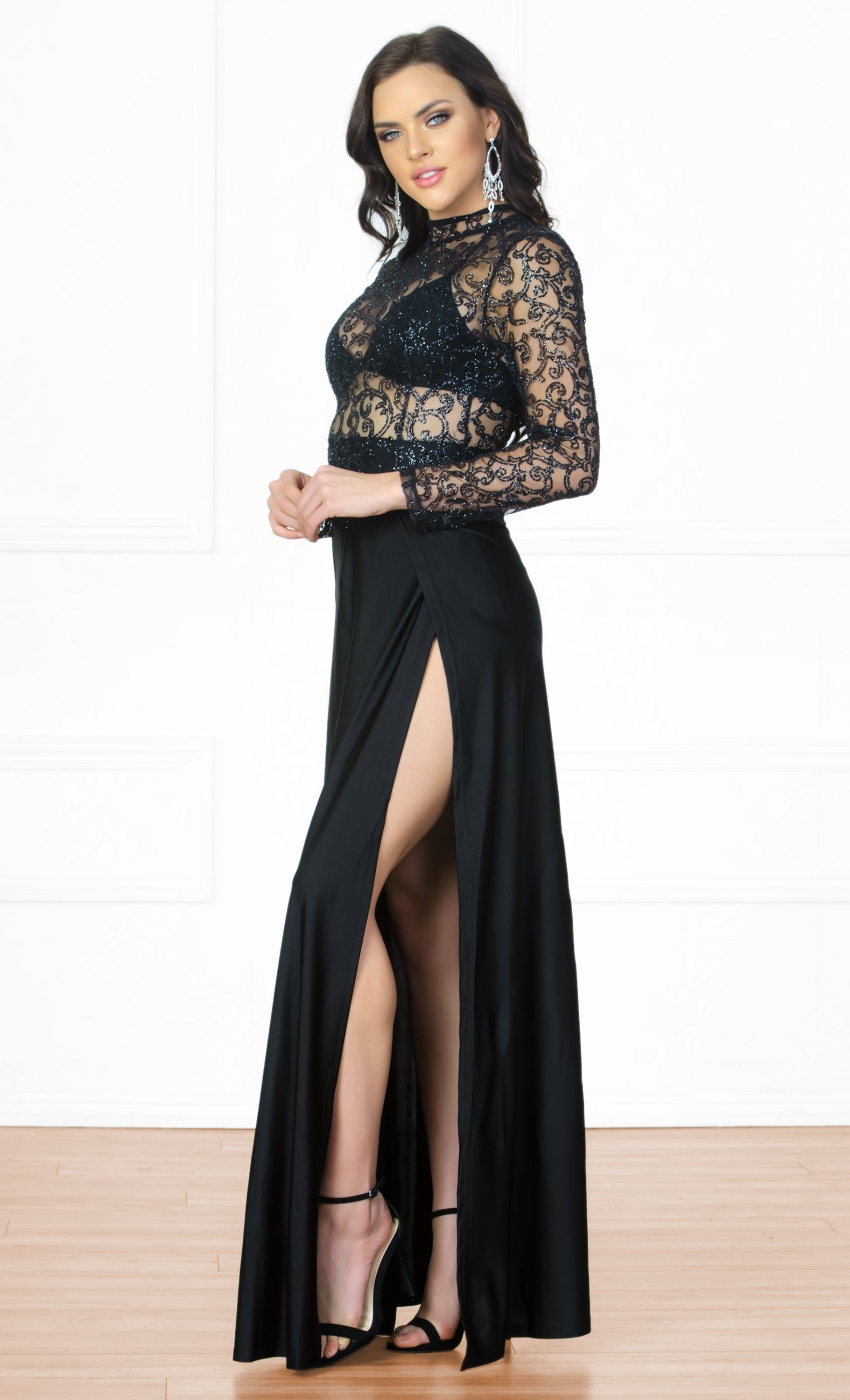 Indie XO High Drama Black Glitter Sheer Mesh Long Sleeve Mock Neck Cut Out Back Double Slit Maxi Dress