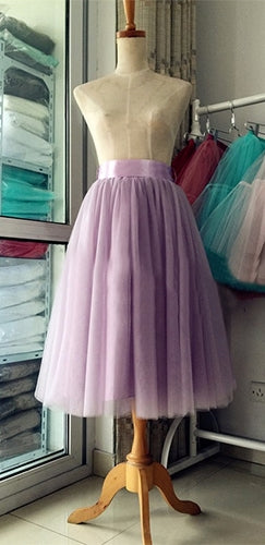 Fairytale Wishes Purple Lavender Tulle Layered Pleated Ball Gown A Line Ballerina Midi Skirt