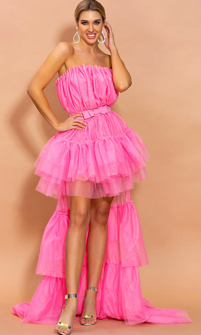 Can't Stop Me Pink Mesh Bow Waist Tulle Strapless Ruffle Tier High Low Maxi Dress