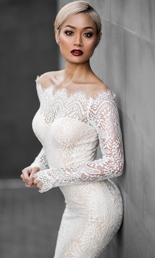 Forever Together White Lace Long Sleeve Off The Shoulder Fishtail Midi Dress