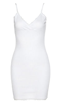 Last To Leave Ribbed Lace Trim Sleeveless Spaghetti Strap Cross Wrap V Neck Casual Bodycon Mini Dress - 2 Colors Available