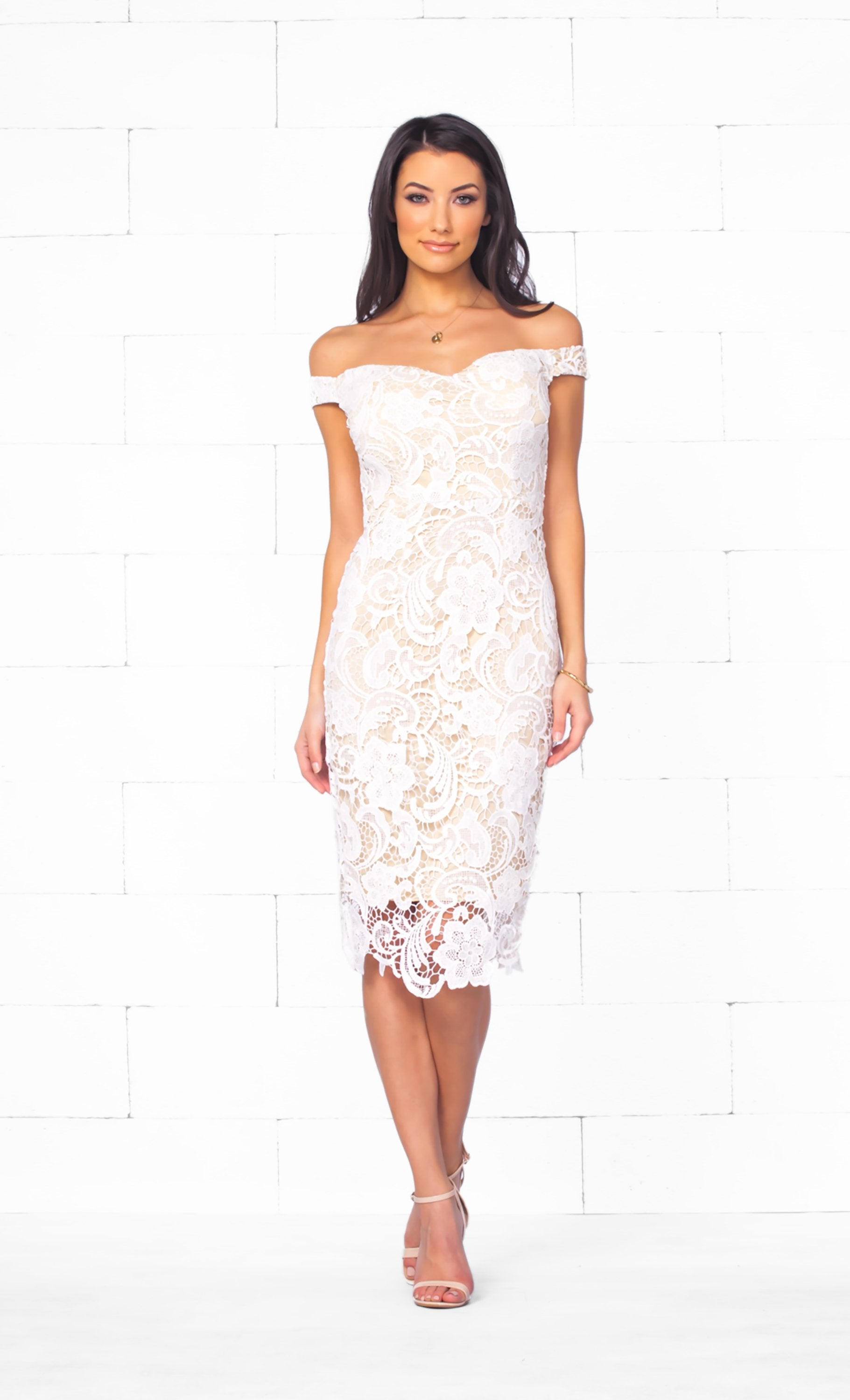 Indie XO At Last White Beige Lace Off The Shoulder Sweetheart Neck Bodycon Midi Dress - Just Ours! - Sold out!