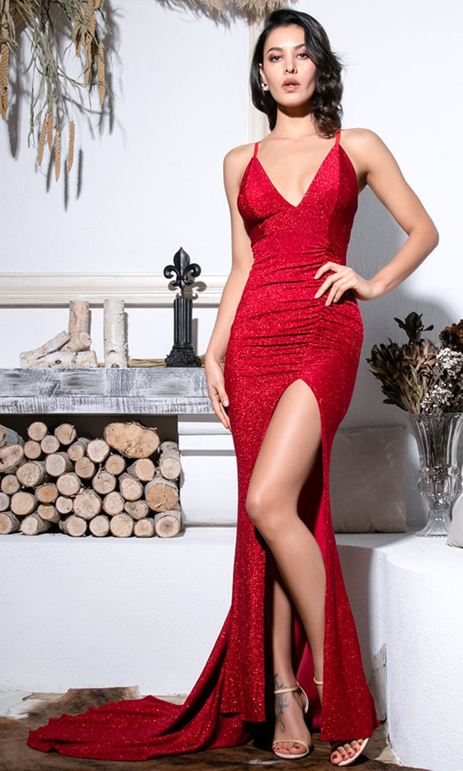 Hollywood Glam V Neck Elastic Red Glitter Bodycon Spaghetti Strap Slit Leg Sleeveless Maxi Dress