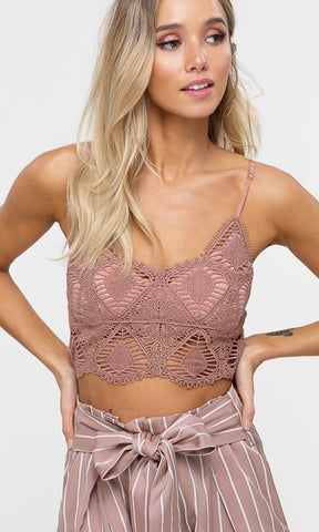 Backstage Romance Sheer Mesh Lace Sleeveless Spaghetti Strap V Neck Smocked Crop Bralette Top - Sold Out
