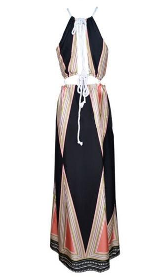 Out Of This World Black Beige White Pink Geometric Sleeveless Cut Out V Halter Side Slit Maxi Dress -  Sold Out