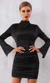 Dare To Be Different Black Gold Stretch Velvet Long Sleeve Two Pocket Double Breasted V Neck Bodycon Blazer Mini Dress - Last One!