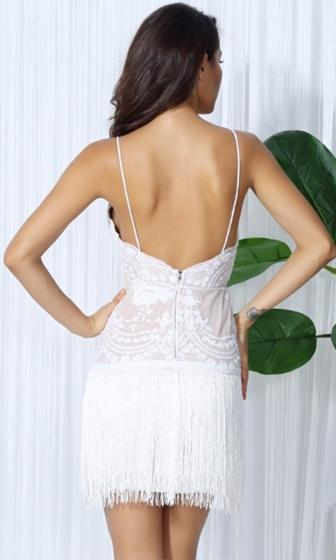 Dream Catcher White Lace Fringe Sleeveless Spaghetti Strap Plunge V Neck Mini Dress