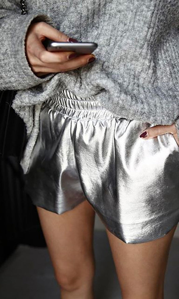 Future Lover Silver PU Faux Leather Elastic Waist Shorts