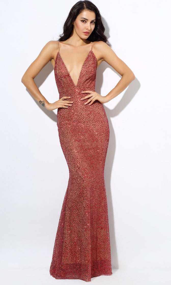 Moonlight Magic Red Glitter Sleeveless Spaghetti Strap Plunge V Neck  Backless Maxi Dress e0779332f