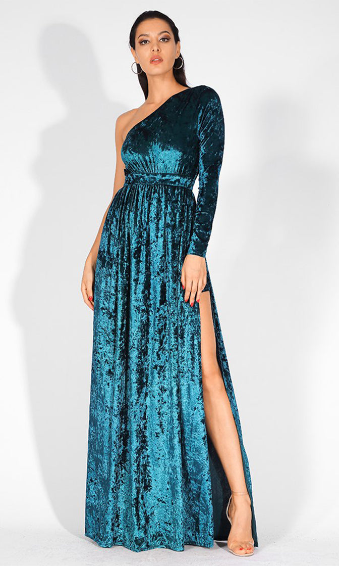 Midnight Drama Blue Velvet Long Sleeve One Shoulder Side Slit Maxi Dress Jumpsuit