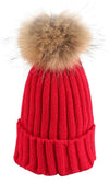 Big Chill Red Removable Fur Pompom Rib Cuff Beanie Hat