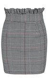Spot Check Grey Plaid Pattern Ruffle High Waist Bodycon Pencil Mini Skirt - Sold Out