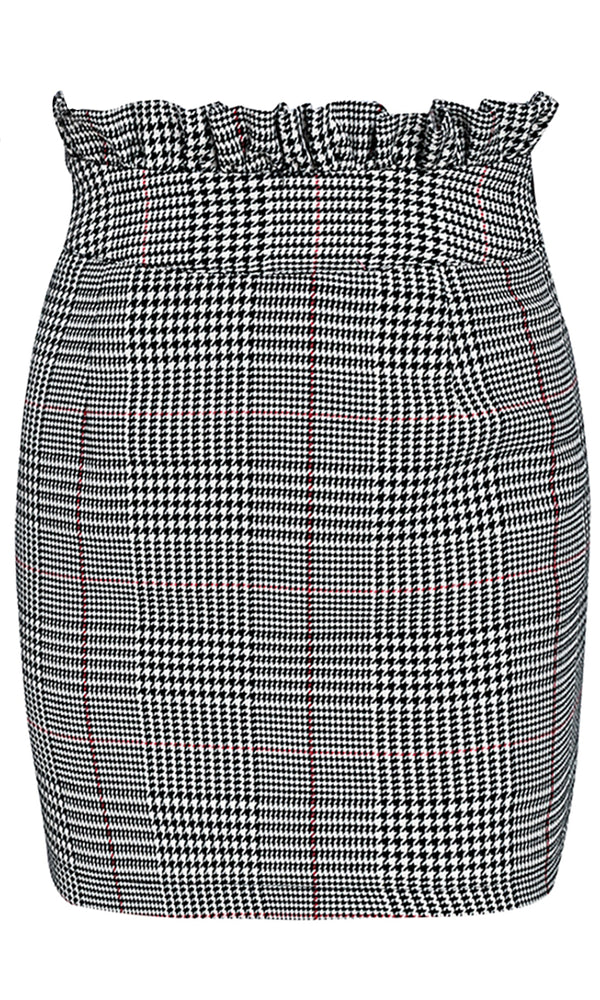 Spot Check Grey Plaid Pattern Ruffle High Waist Bodycon Pencil Mini Skirt
