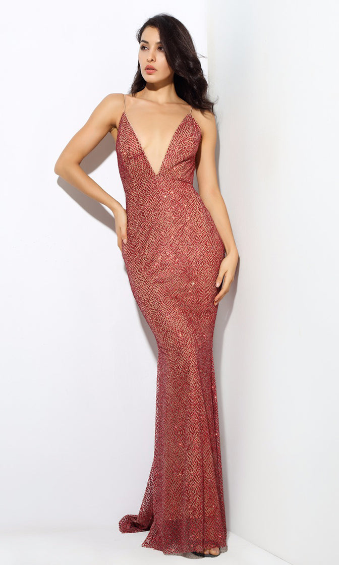 Moonlight Magic Red Glitter Sleeveless Spaghetti Strap Plunge V Neck ... ecc6c6fa3