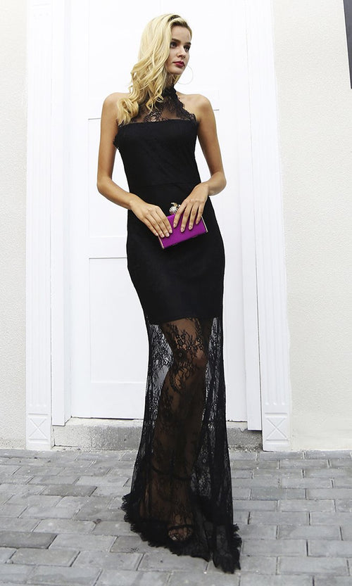 So Influential Black Sheer Mesh Lace Sleeveless Halter Cut Out Back Maxi Dress
