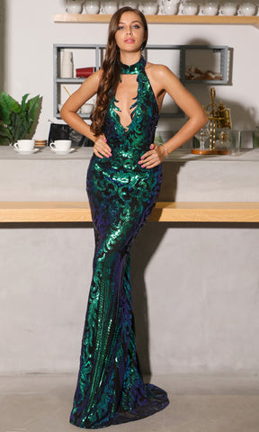 Decadent Diva Sleeveless Halter Plunge V Neck High Slit Bandage Maxi Dress - 2 Colors Available
