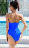 Beach Patrol Blue Strapless Plunge V Neck Bodysuit Top One Piece Swimsuit - Sold Out