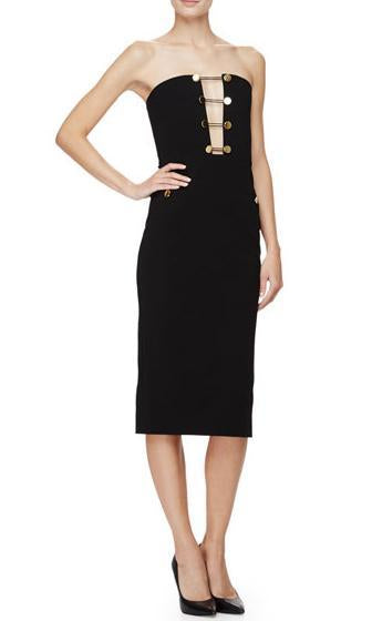 I'm Yacht Ready Black Gold Button Strapless Cut Out V Neck Bodycon Midi Sheath Dress - Inspired by Khloe Kardashian - Sold Out