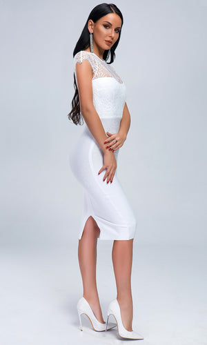 Simply Fabulous White Cap Sleeve Sheer Mesh Lace Crew Neck Bodycon Bandage Midi Dress
