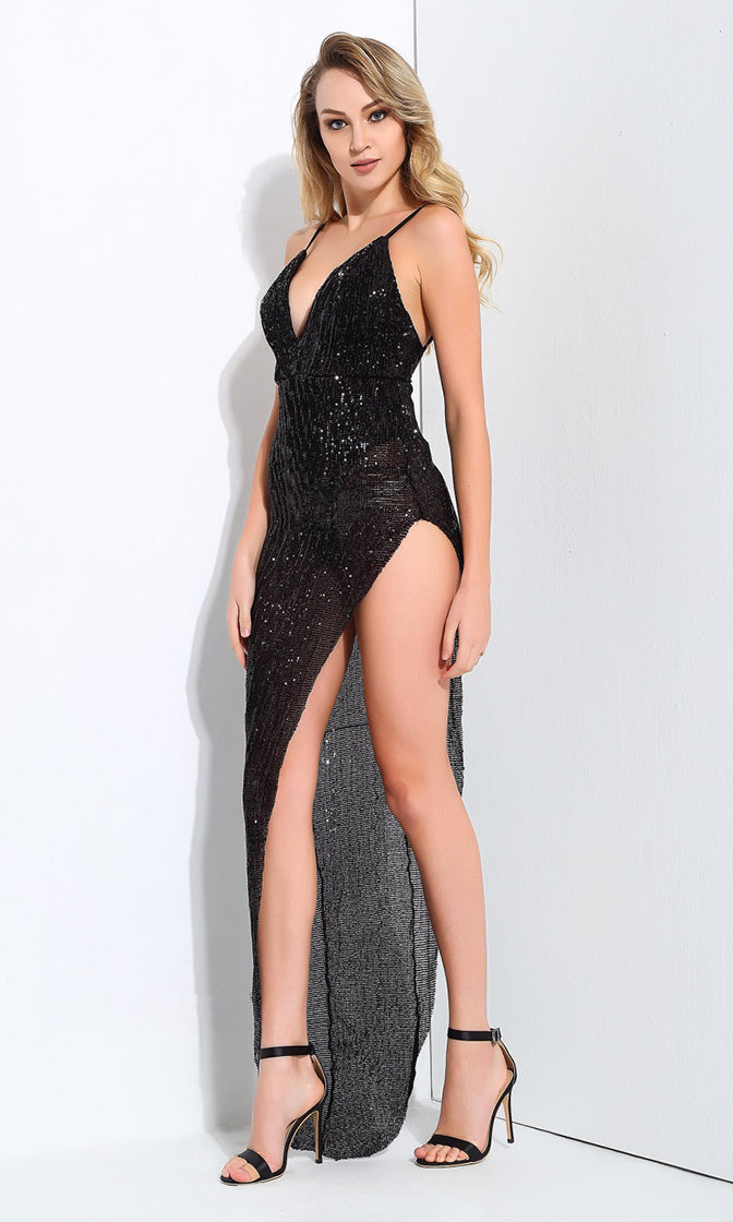 First Look Black Sequin Sleeveless Spaghetti Strap V Neck High Cut Maxi Dress