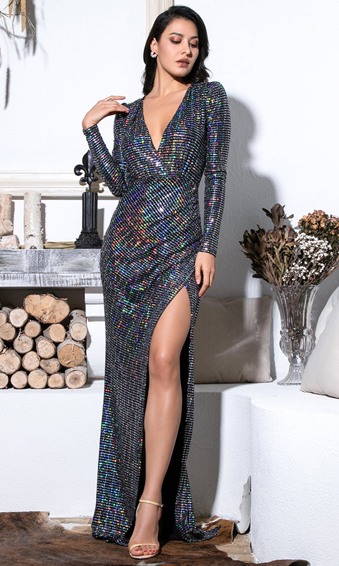 Close Encounters Black Rainbow Sequin Long Puff Sleeve Cross Wrap V Neck High Slit Maxi Dress