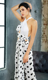 From Up Here White Black Polka Dot Pattern Sleeveless Cross Wrap Cut Out Halter Crop Top High Waist Loose Wide Leg Two Piece Jumpsuit - Sold Out