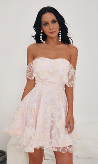 Loss For Words Pink Lace Floral Pattern Short Sleeve Off The Shoulder Sweetheart Neck Flare A Line Skater Mini Dress - Sold Out