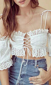 Light Hearted White Eyelet Lace Elbow Sleeve Off The Shoulder Lace Up Crop Top Ruffle Mini Skirt Two Piece Casual Dress