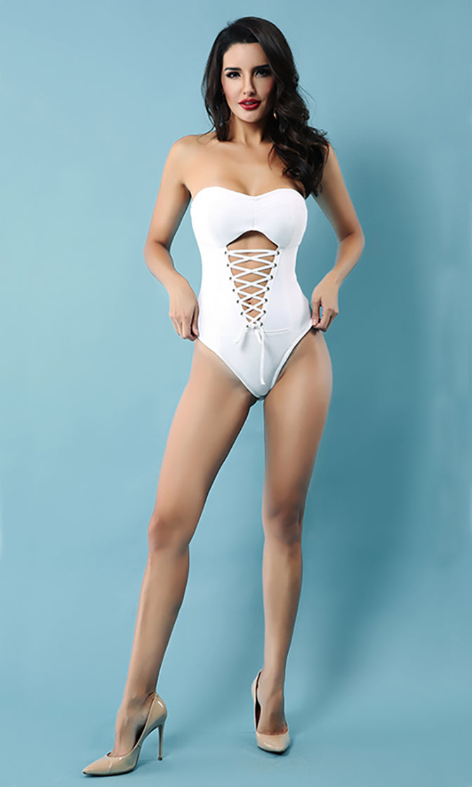Make You Mine Strapless Cut Out Lace Up Bandage Bodysuit Top - 2 Colors Available