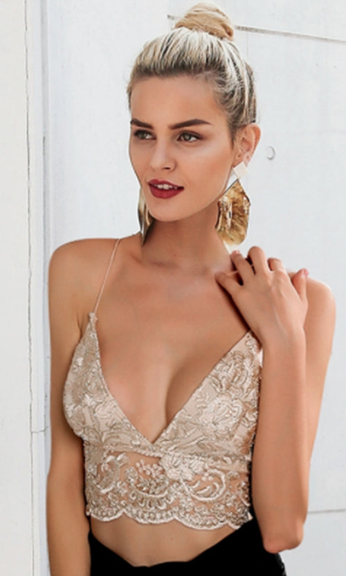 Memories Of You Embroidery Sheer Mesh Lace Sleeveless Spaghetti Strap Plunge V Neck Backless Crop Top - 2 Colors Available