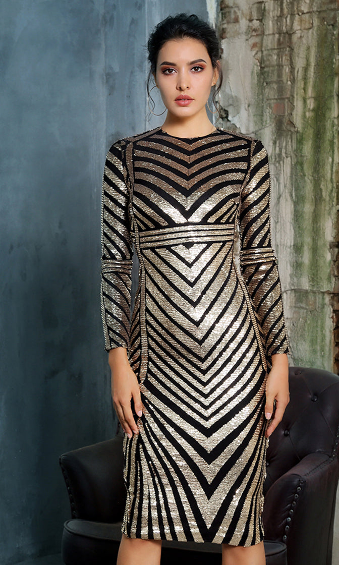 Future Queen Black Gold Sequin Chevron Stripe Geometric Pattern Long Sleeve Crew Neck Bodycon Midi Dress