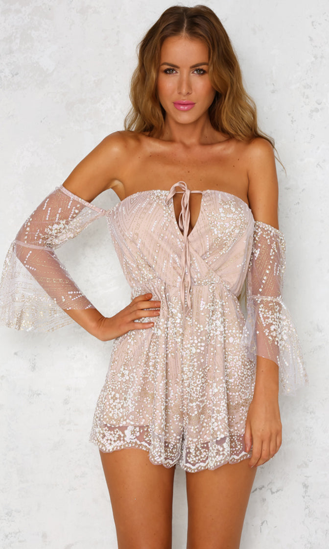 Ready To Dazzle Gold Sequin Sheer Mesh Halter 3/4 Sleeve Off The Shoulder V Neck Romper Jumpsuit - Sold Out