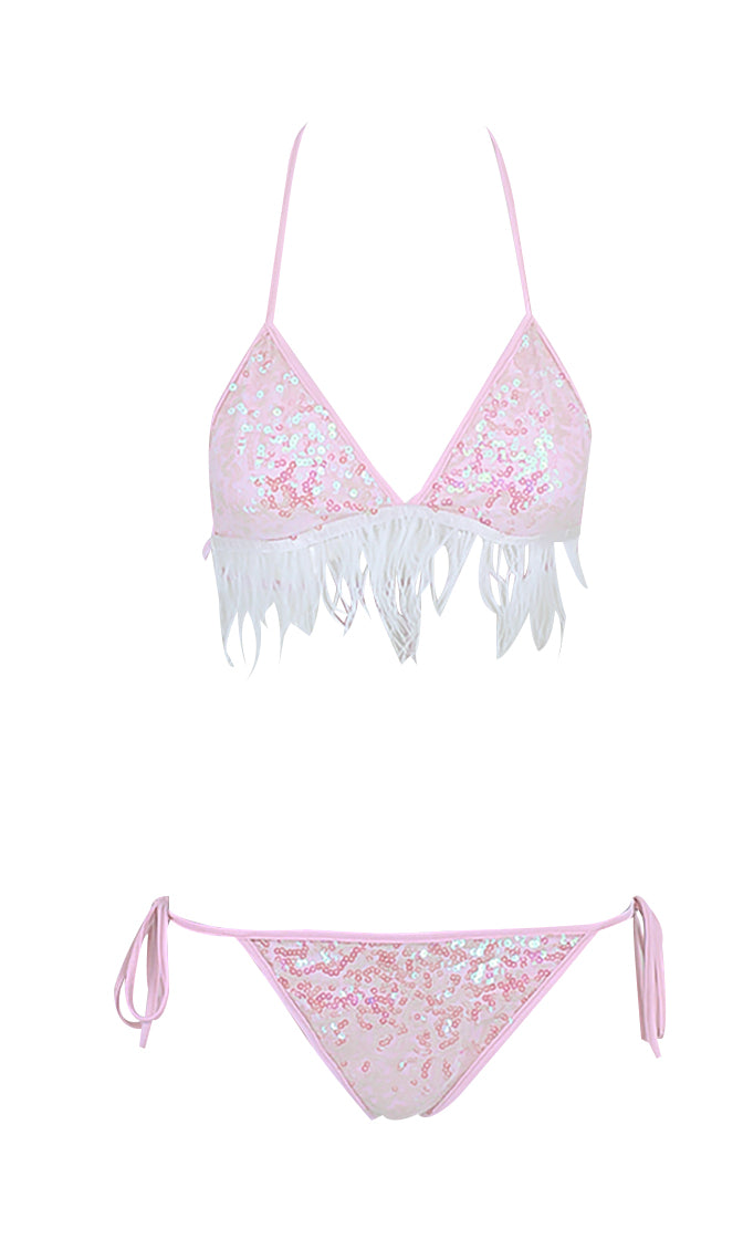 Forget About It Sequin Feather Triangle Tie Side Fringe Two Piece Bikini Swimsuit - 2 Colors Available