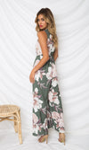 Ocho Rios Grey White Floral Pattern Sleeveless Cross Wrap V Neck Side Slit Wide Leg Loose Jumpsuit - Sold Out