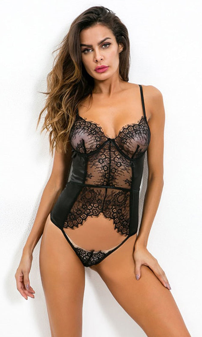 Pure Magic Sheer Mesh Lace Sleeveless Spaghetti Strap V Neck Cut Out Lingerie Bodysuit Top