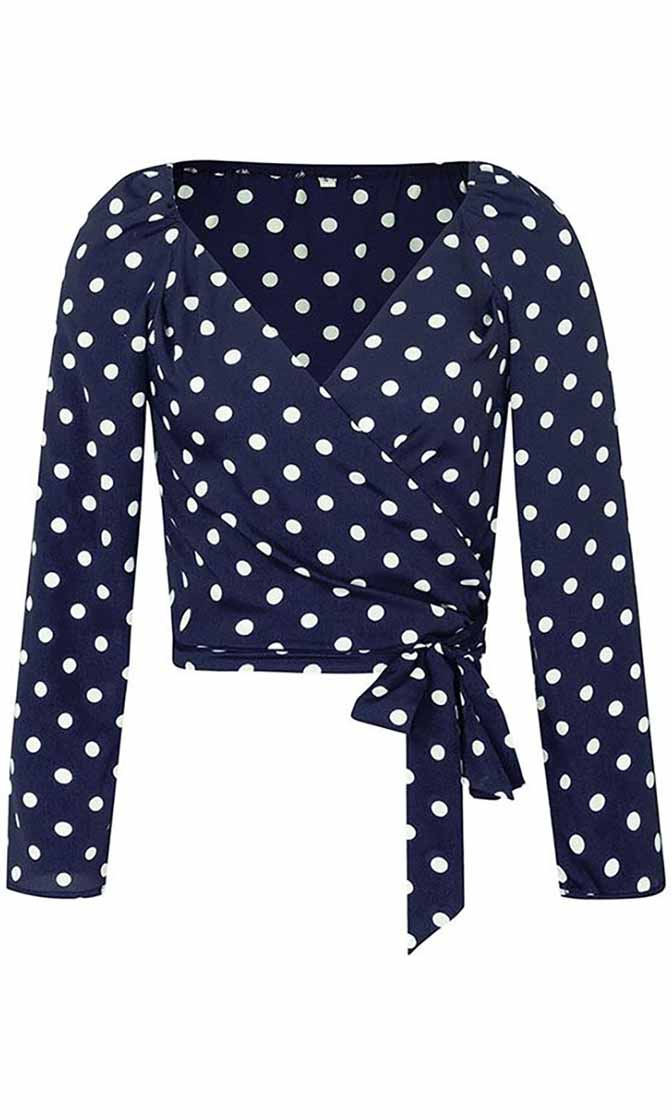 Over Time Polka Dot Pattern Long Sleeve Cross Wrap V Neck Tie Waist Crop Top Blouse - 4 Colors Available