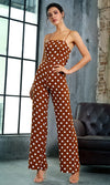 Miami Romance Red Sleeveless Double Spaghetti Strap Plunge V Cut Out Waist Wide Leg Loose Jumpsuit