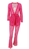 Private Dancer Sheer Mesh Lace Long Sleeve Plunge V Neck Tie Belt Top Flare Leg Loose Pant Two Piece Jumpsuit Set - 2 Colors Available