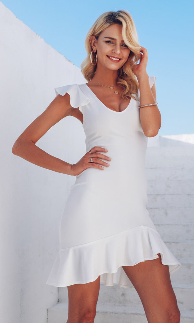 Frequent Flyer White Ruffle Sleeve V Neck Backless Lace Up Bodycon Mini Dress