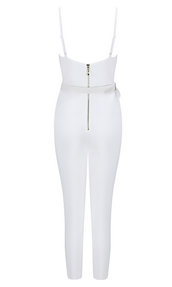 See Me Now White Sleeveless Spaghetti Strap Bustier Bandage Bodycon Cropped Leg Skinny Jumpsuit