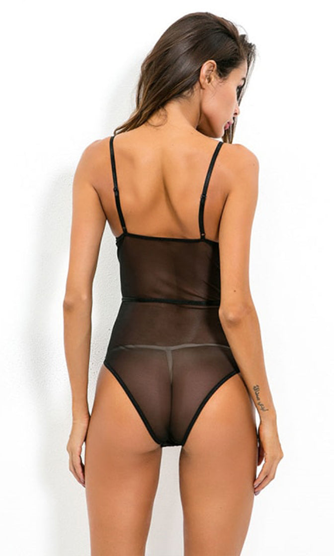 Pure Magic Sheer Mesh Lace Sleeveless Spaghetti Strap V Neck Cut Out Lingerie Bodysuit Top - 2 Colors Available