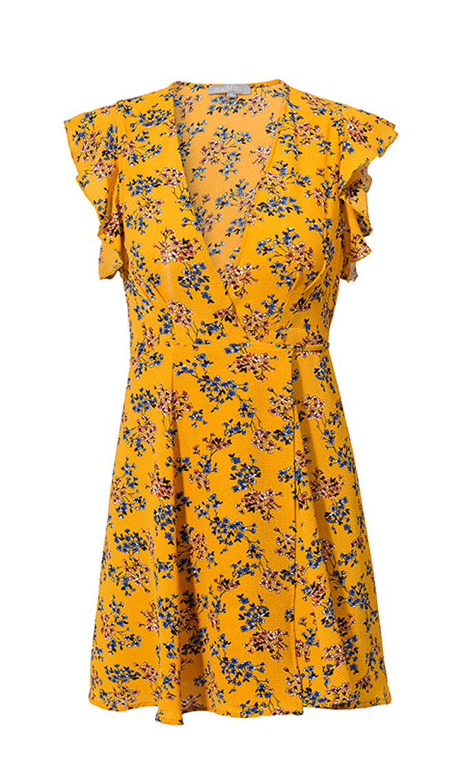Heart Break Kid Yellow Floral Pattern Sleeveless Ruffle Cross Wrap V Neck Casual Mini Dress
