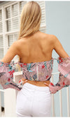Turn Up The Heat Pink Floral Pattern Long Lantern Sleeve Off The Shoulder Cross Wrap Sweetheart Neck Crop Blouse Top