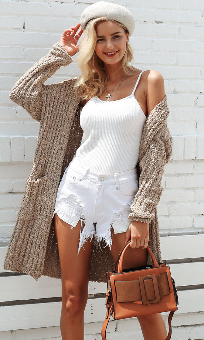 Topping It Off Long Sleeve Open Front Chunky Ribbed Pocket Cardigan Sweater - 4 Colors Available